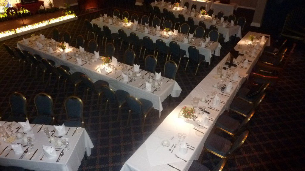 Tables laid out for Jimmy's show at the Kidderminster Rotary Club at the Ramada