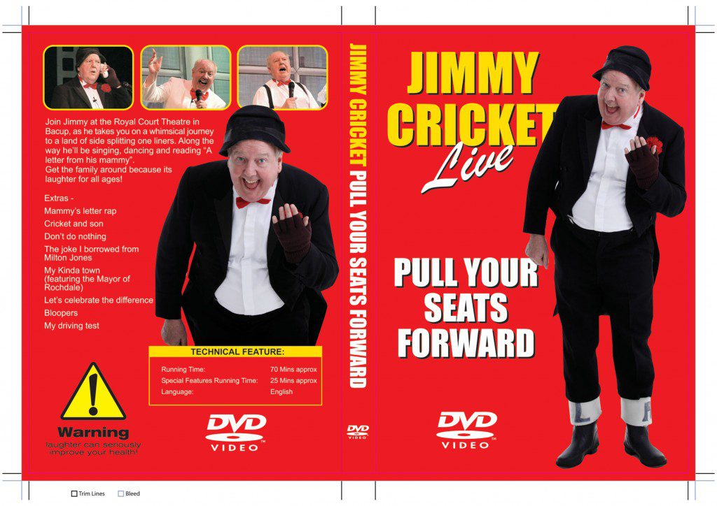 """Jimmy Cricket's DVD """"Pull Your Seats Forward - outer-sleeve"""
