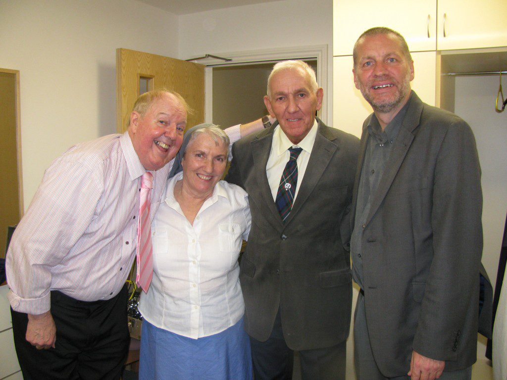 Jimmy with Sister Joy, Tony and Fr Peter from the Blessed Cardinal Newman parish in Latchford, Warrington