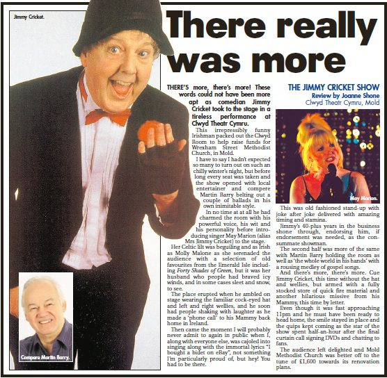 Review of Jimmy Cricket and May Marion from 4 February at the Clwyd Theatre Cymru in Mold, Flintshire, North Wales