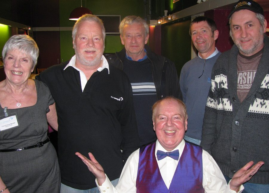 With Jimmy Cricket at The Seagull are, from left: Marion, Front of House Manager, Ian, one of the directors, and three great volunteers who help to keep the theatre running – Ken, Malcolm and Andy