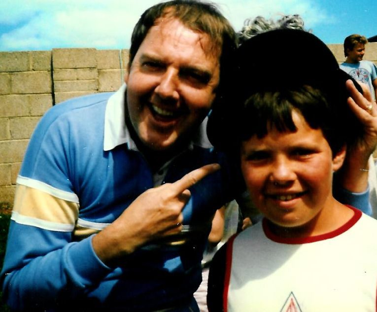 Jimmy with 10-year-old David at the Lord's Taverners cricket match in the 80s