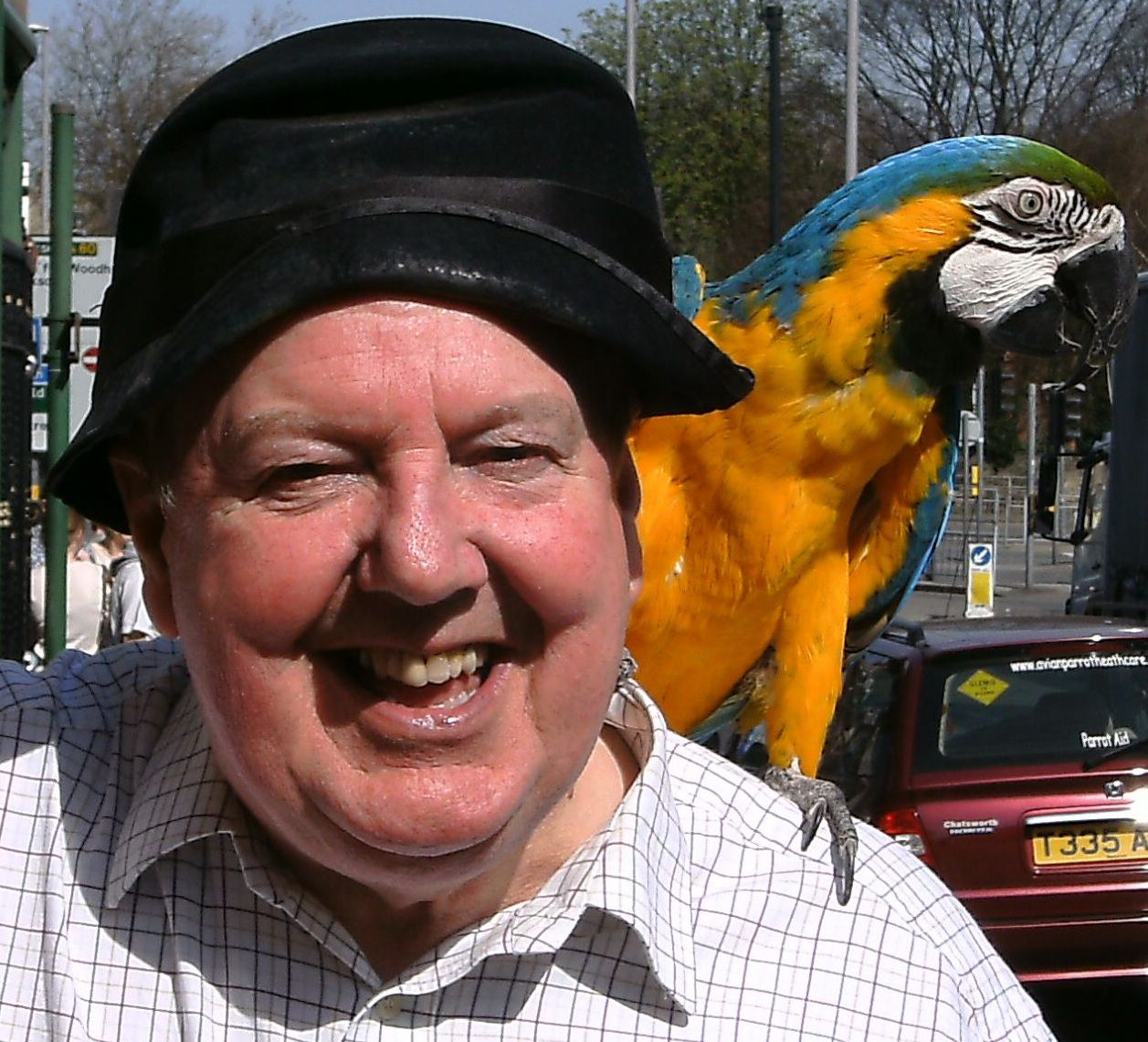 Jimmy Cricket with the parrot