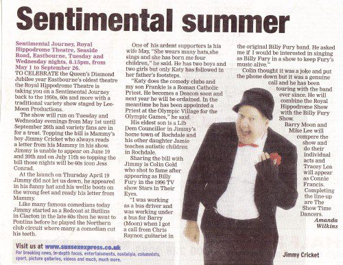 Article about Jimmy Cricket from the Sussex Express