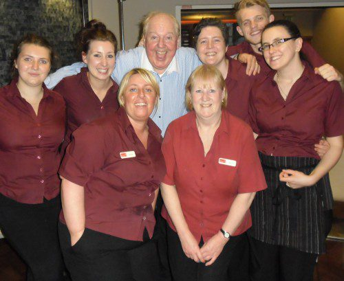 Jimmy Cricket with all the restaurant staff at Liverpool Hope University (a big thank-you to Helen Davis for this photo)