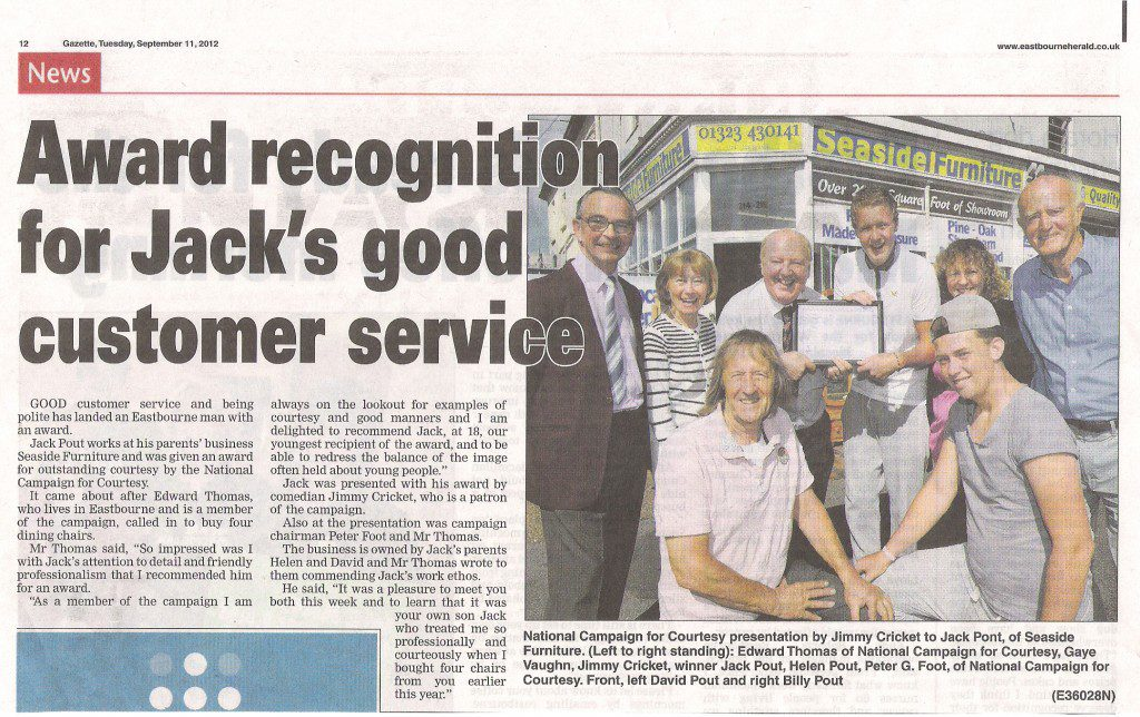 The article appeared in the 11 September edition of the Eastbourne Gazette