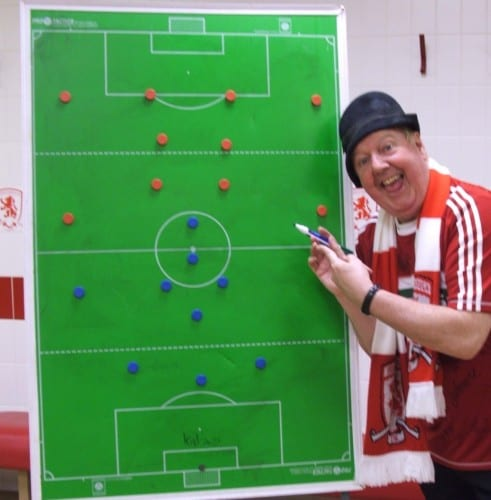 Jimmy Cricket in the home team dressing room at Middlesbrough FC