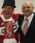 Jimmy Cricket with Steve Burt, function manager at the Riverside