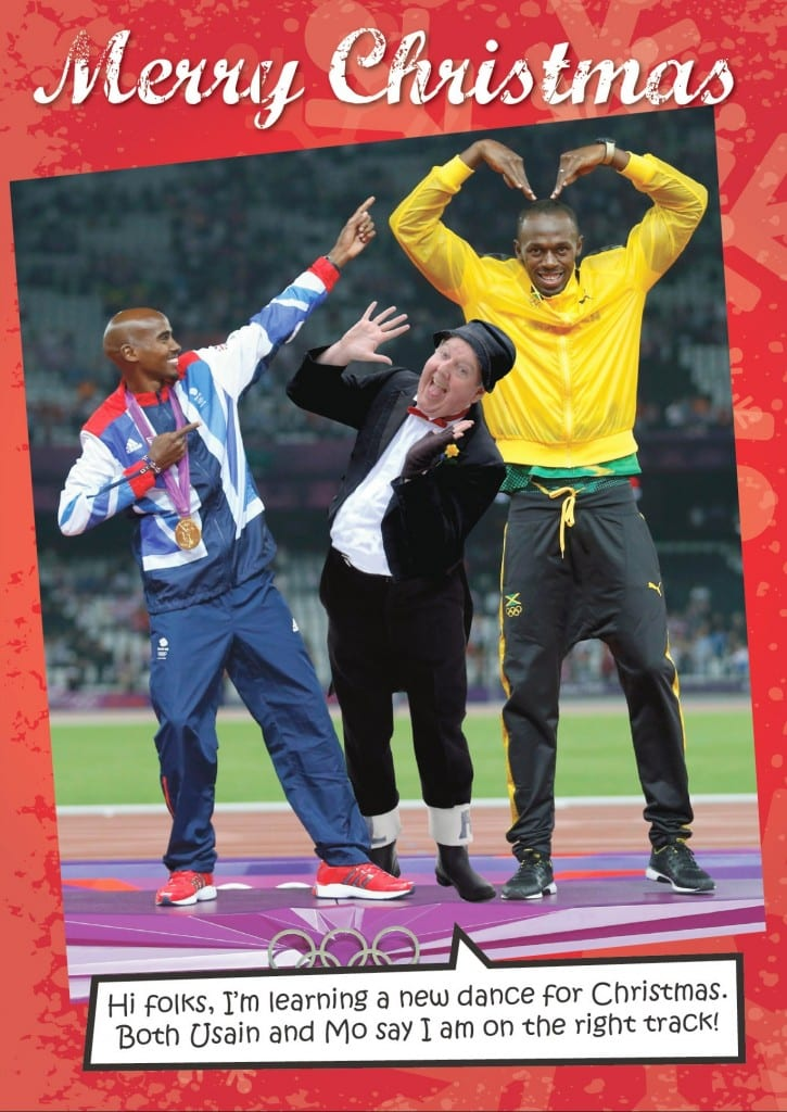 Usain Bolt and Mo Farah on Jimmy Cricket's Christmas card