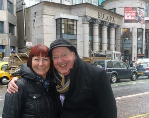 Jimmy and Fiona in front ofl the legendary Europa Hotel