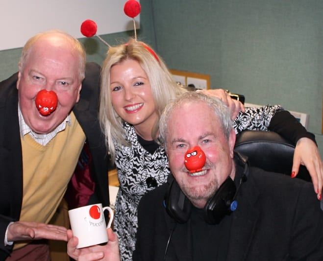 Jimmy Cricket with BBC Radio Ulster presenter Gerry Kelly and Michelle Major, a laughter yoga instructor