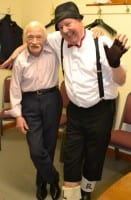 Jimmy Cricket with Ted, a champion ballroom dancer and ex-Royal Navy officer