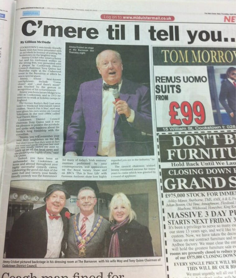 The article about Jimmy Cricket in the Mid Ulster Mail, written by journalist Gillian McDade