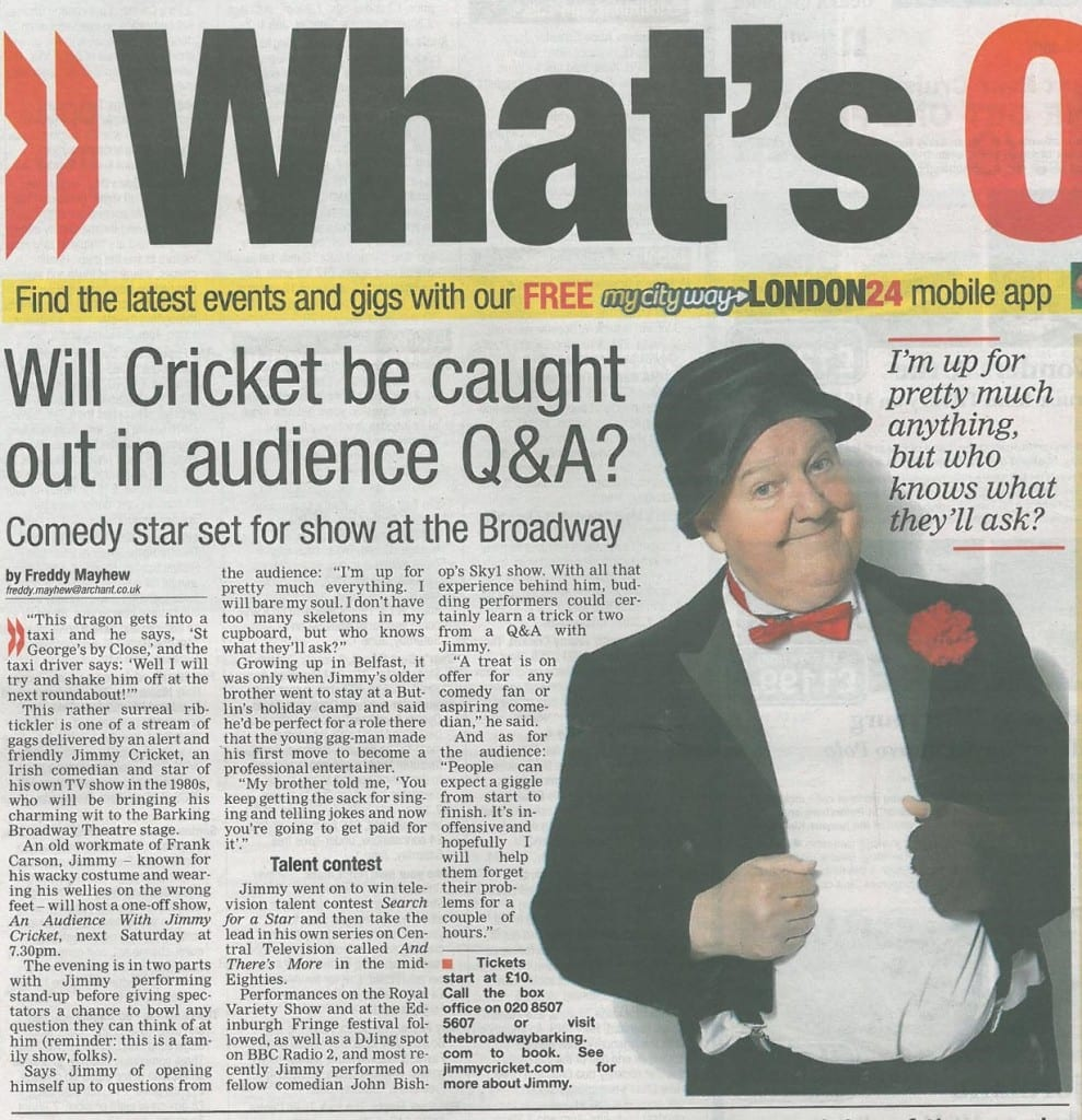 Article about Jimmy Cricket in the Barking and Dagenham Post