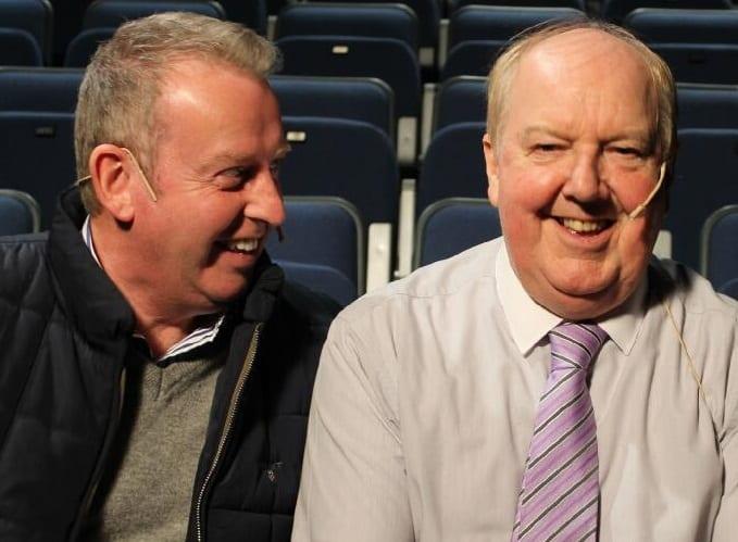 William Caulfield and Jimmy Cricket share a joke
