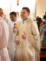 Fr Frankie Mulgrew leaves church after saying his first Mass as a Catholic priest