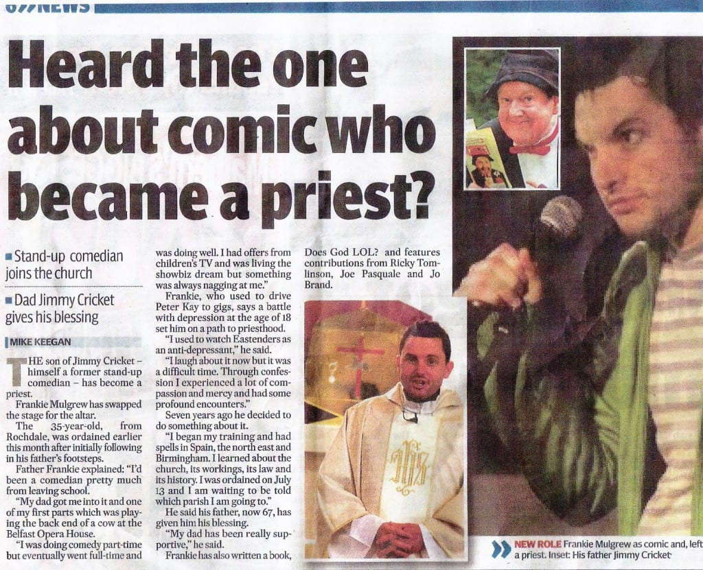The Manchester Evening News featured the story about Frankie Mulgrew's ordination