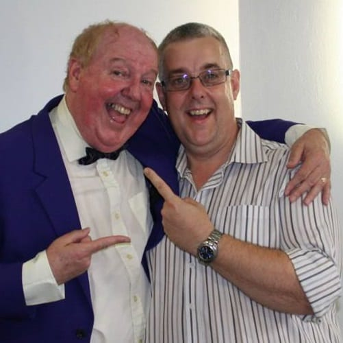 Jimmy Cricket with Carl Lawrence in the foyer of the Embassy Theatre in Skegness