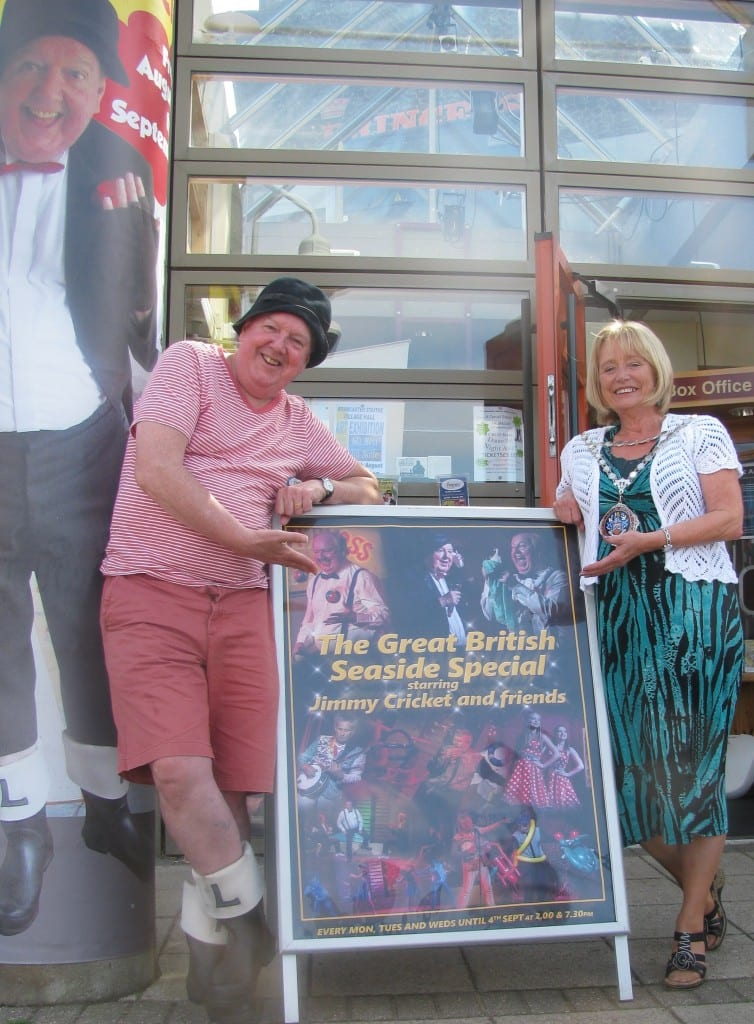 Jimmy Cricket with Cllr Elaine Clutton, the Mayor of Hunstanton