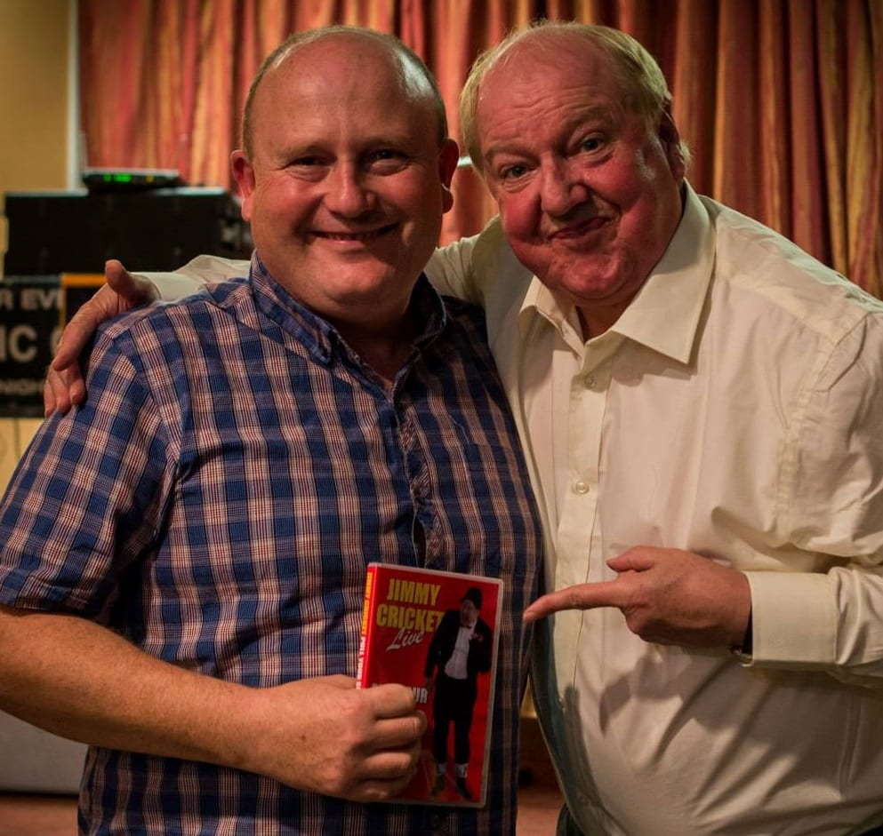 Jimmy Cricket with photographer Ricky Sandtide Matthews