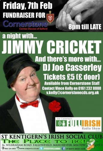 Jimmy Cricket is returning to St Kentigern's Irish Club in south Manchester
