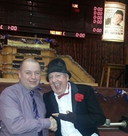 Jimmy Cricket with Mark Chanoller, a member of staff at the Top Ten Top Bingo club in Rhyl