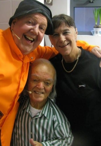Jimmy Cricket with Malcolm Dixon, who played the head dwarf, and whose wife Anita was the production's stage manager