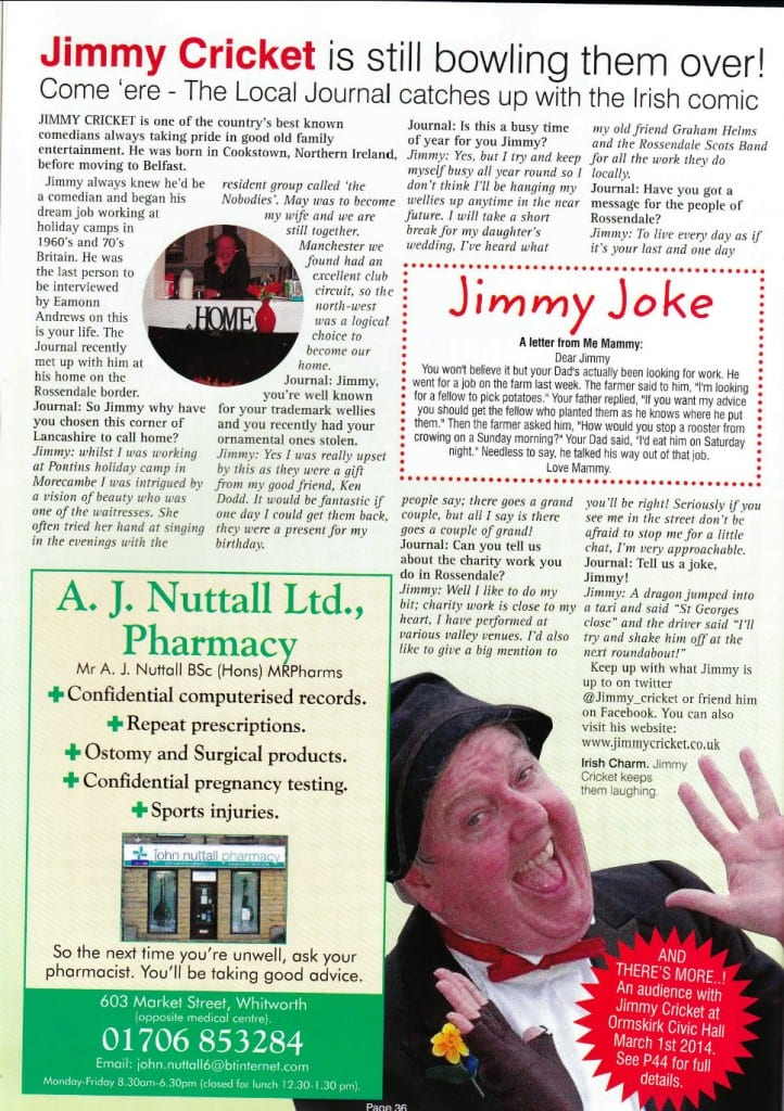 Jimmy Cricket article in the Local Journal in Rossendale