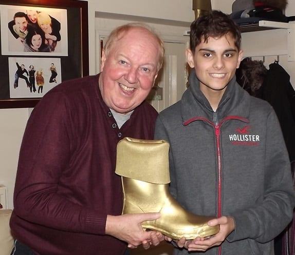 Jimmy Cricket with Golden Wellie award winner Sonny
