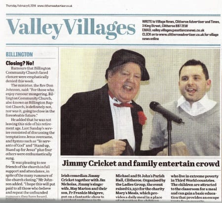 Jimmy Cricket and Fr Frankie appeared in the Clitheroe Advertiser