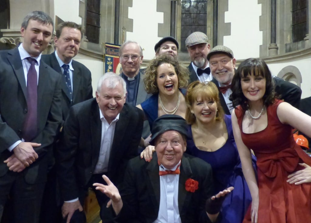 Jimmy Cricket and the cast for the fundraising concert at Christchurch C of E church in Chatburn, Lancashire