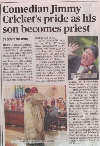 The Irish World newspaper has featured a special article about Jimmy Cricket's second son, newly ordained priest Fr Frankie Mulgrew