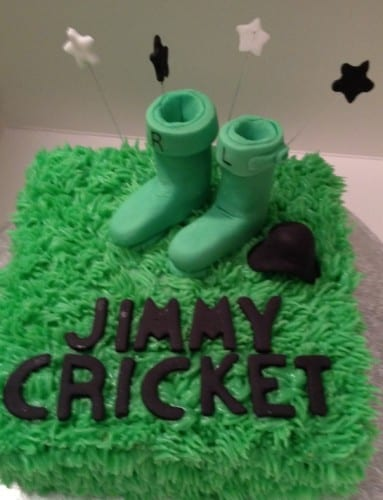 Jimmy Cricket was presented with an Irish-themed cake when he returned to perform at the Billingham Forum Theatre near Middlesbrough