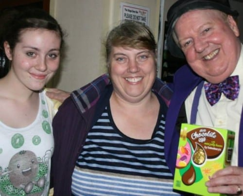 A  couple of Jimmy Cricket's fans came along to present him with an Easter egg