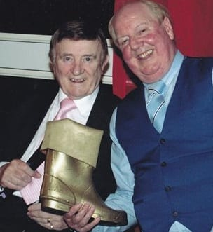 Jimmy Cricket presents Eric Devereaux with the golden Wellington award