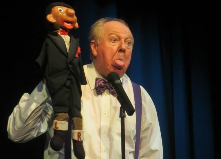 "Jimmy Cricket with ""colleague"" in action at the Darwen Library Theatre"