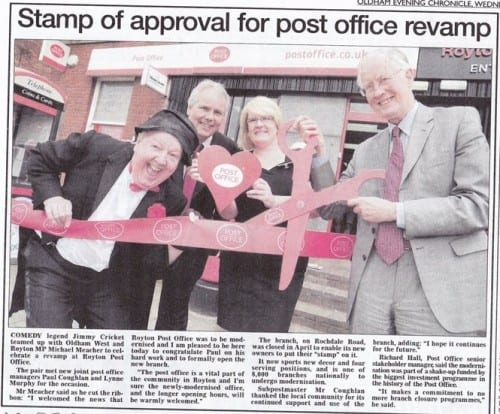 Jimmy Cricket with Michael Meacher (right) and others at the relaunch of Royton Post Office