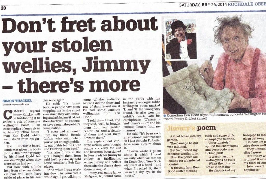 The Rochdale Observer article on the stolen wellies