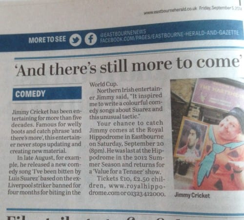 Eastbourne Herald article featuring Jimmy Cricket's return to the Royal Hippodrome Theatre