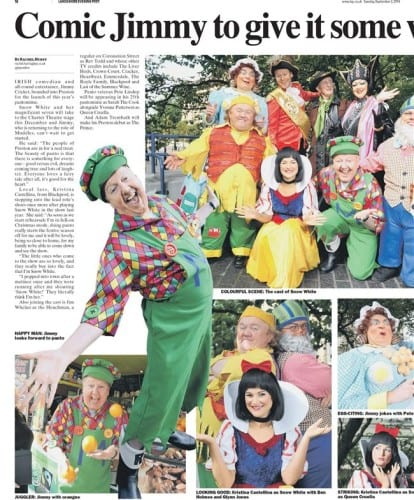 Jimmy Cricket and fellow cast members ahead of his latest pantomime at the Charter Theatre in Preston, featured in the Lancashire Evening Post