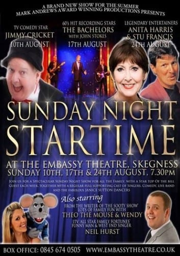 Sunday night Startime at the Embassy Theatre in Skegness starred Jimmy Cricket, Anita Harris, The Bachelors, Theo The Mouse and Wendy