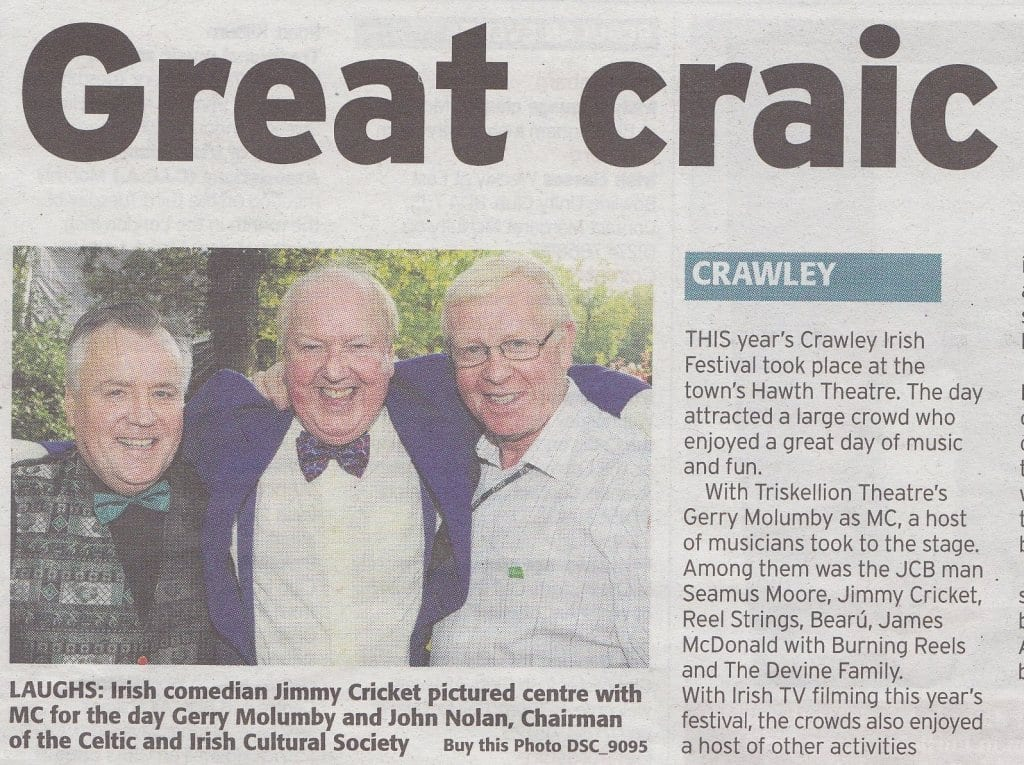 Jimmy Cricket featured in the Irish Post's coverage of the Crawley Irish Festival