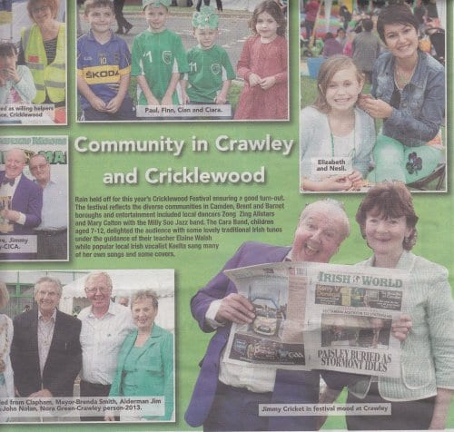 Jimmy Cricket featured in the Irish World's coverage of the Crawley Irish Festival