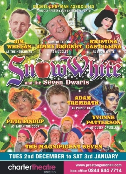 Jimmy Cricket is starring in Snow White and the Seven Dwarfs at the Charter Theatre in Preston