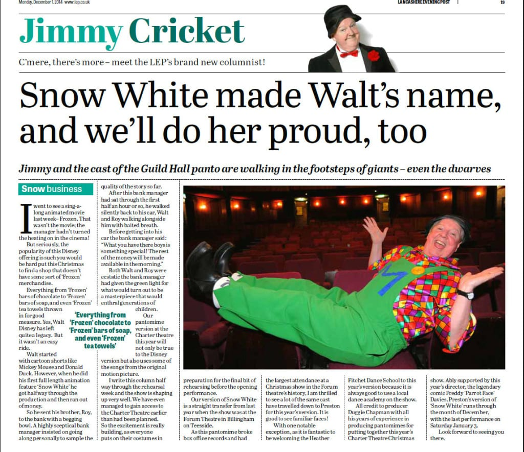 Jimmy Cricket talks about Walt Disney's Snow White and the Seven Dwarfs in his latest Lancashire Evening Post column