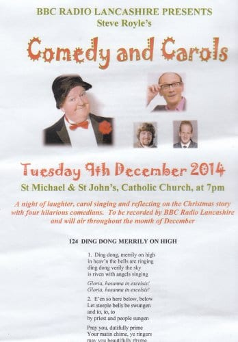 The BBC Radio Lancashire carol service includes Jimmy Cricket, Steve Royle, Danny Pensive and Tony Vino