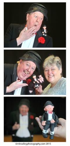 Jimmy Cricket with Julie Sharkey who created the miniature model of the famous comedian