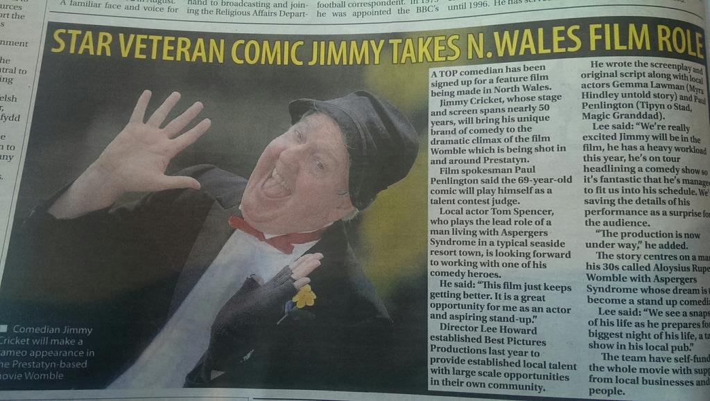 Jimmy Cricket's role in the Womble film was reported in the North Wales Daily Post
