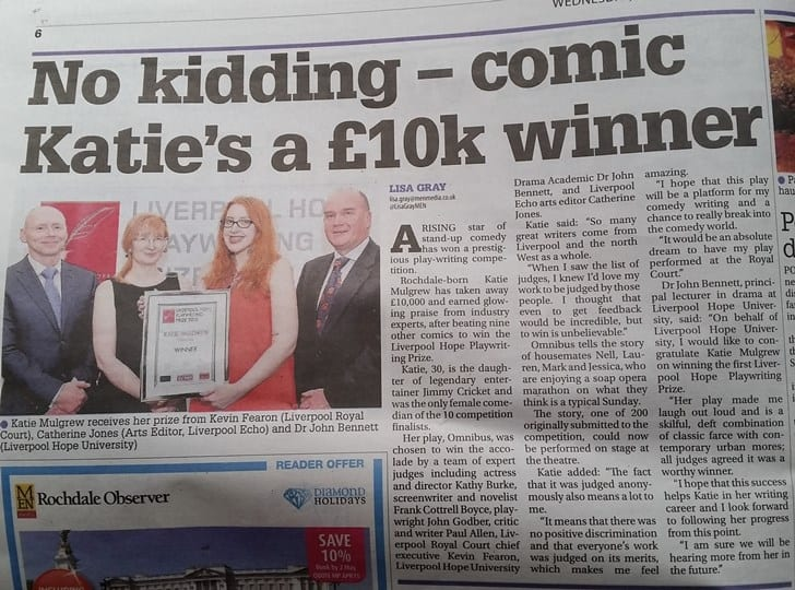 The Rochdale Observer reported on Katie Mulgrew's success