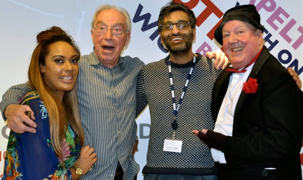 Jimmy Cricket with Bernie  Clifton, fitness trainer Kellyanne Sharman and BBC Radio Sheffield producer Rav
